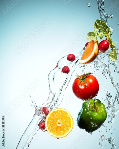 Fruits and vegetables splas...