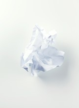 Crumpled Piece Of White Paper Studio Shot
