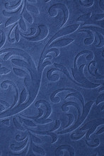 Classic Blue Embossed  Floral Pattern Wallpaper