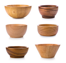 Wood Bowl On White Background