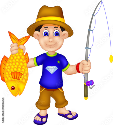 Photo handsome angler cartoon standing bring fish and fishing rod