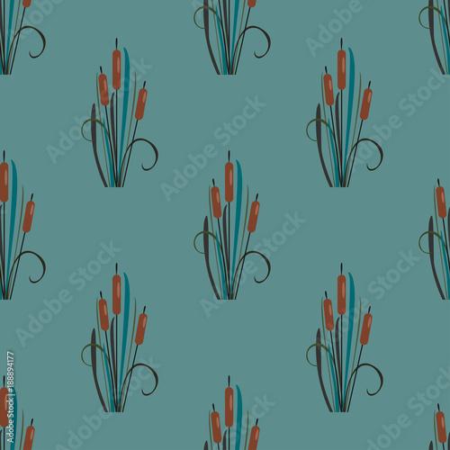 Fotografie, Obraz  Seamless Pattern with elegant reed bushes on subtle teal
