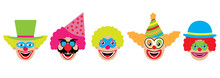 Clowns Set, Icons. Vector Illu...