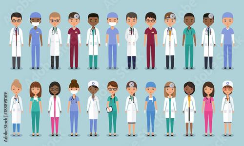 Fotografia  Doctors, nurses and surgeons characters