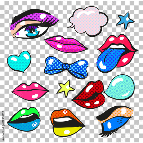 Vector pop art comic fashion patches, stickers set