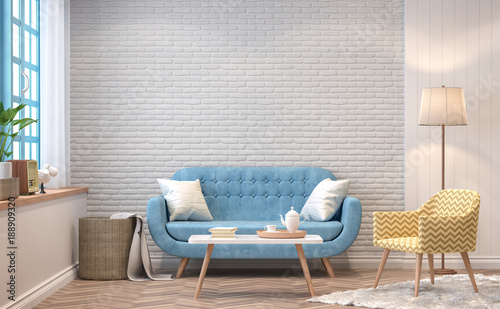 Foto op Canvas Retro Vintage living room 3d rendering image.The Rooms have wooden floors and white brick walls.furnished with blue sofa and yellow chair There are blue window overlooking to the nature.