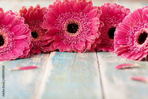 Tuinposter Gerbera Spring gerbera flowers bouquet on rustic wooden background. Birthday, holiday, mother or womans day greeting card..