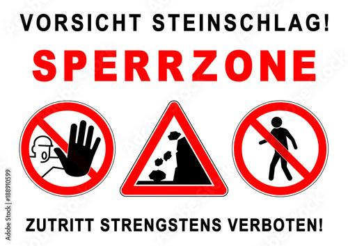 Fototapeta ks284 Kombi-Schild - ezs2 ExclusionZoneSign ezs - Gefahrenzeichen: Vorsicht Stei