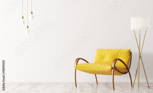 Fotografia, Obraz Interior with armchair and floor lamp 3d rendering