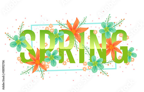 Vector Spring Banner With Colofful Flowers Banner For Spring