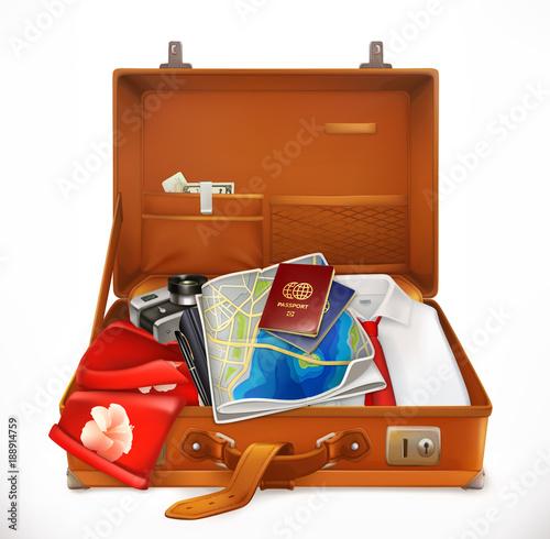 Travel. Open Suitcase....