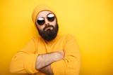 Cool bearded man in sunglasses