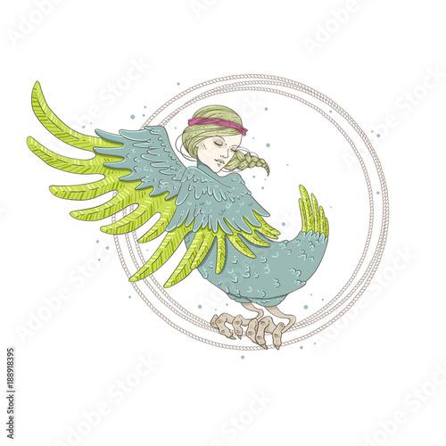 Fotografia  Sirin Bird. Mythological bird. Russian folklore.