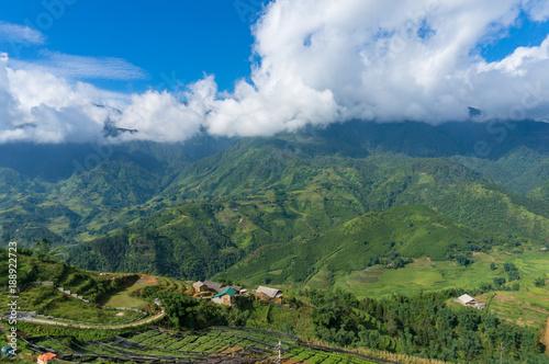 Fotografie, Obraz  Aerial landscape of countryside mountain villages