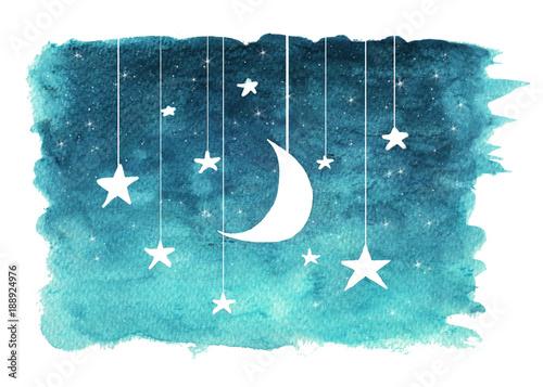 ksiezyc-i-gwiazdy-wiesza-od-sznurkow-malowalismy-w-akwareli-na-bialym-odosobnionym-tle-nocnego-nieba-tlo