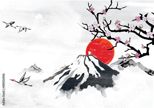 Traditional korean japanese chinese background for greeting traditional korean japanese chinese background for greeting cards with mountains blossom branches m4hsunfo