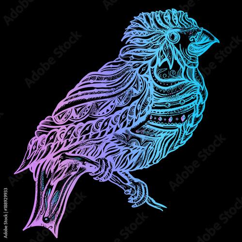 b9c1b3bb5 Magic birds fashion t-shirt design. Cute ornaments bird on a brunch art  vector