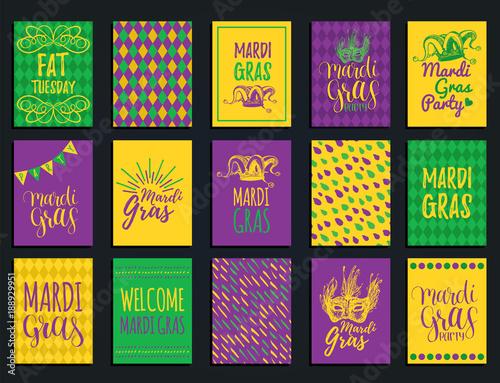 Mardi Gras vector hand lettering greeting cards set Fototapeta