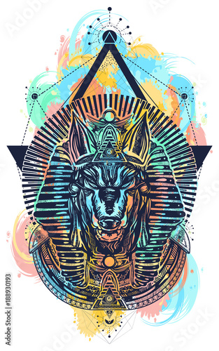 Anubis sacred geometry color watercolor splash tattoo and t-shirt design Wallpaper Mural