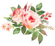 canvas print picture - Flower bouquet with red an pink roses. Watercolor hand-painted illustration