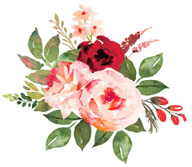 Fototapeta Do pokoju Flower bouquet with red an pink roses. Watercolor hand-painted illustration