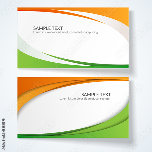 Card With Abstract Wavy Lines Orange And Green Stripes Creative Element For The Design Of Templates