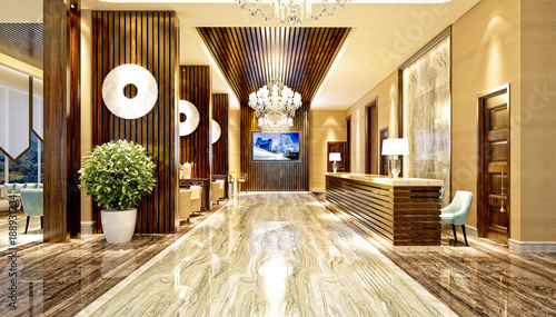 3d render of hotel reception