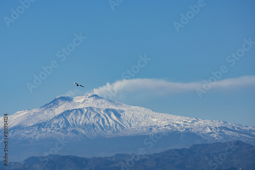 Obraz na plátně Landscape of ETNA MOUNT WITH SNOW