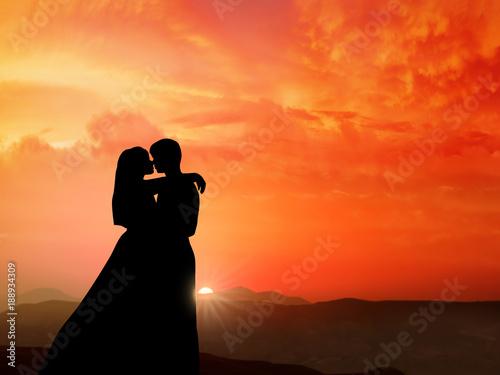 Fotografie, Obraz  Couple kissing in the Sunrise Background