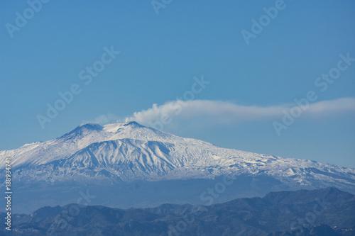 Fotografie, Obraz Landscape of ETNA MOUNT WITH SNOW