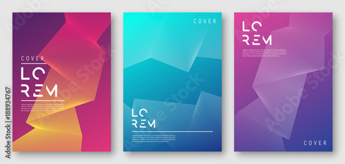 Abstract gradient geometric cover designs, trendy brochure templates, colorful futuristic posters. Vector illustration. Global swatches.