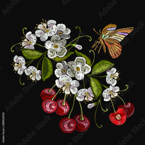 embroidery cherry blossom tree and cherry fruit berry and butterfly