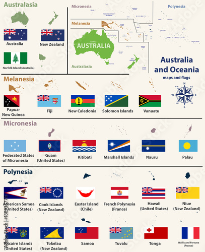 Australia and Oceania(include Australasia, Micronesia, Melanesia and Polynesia) Wallpaper Mural