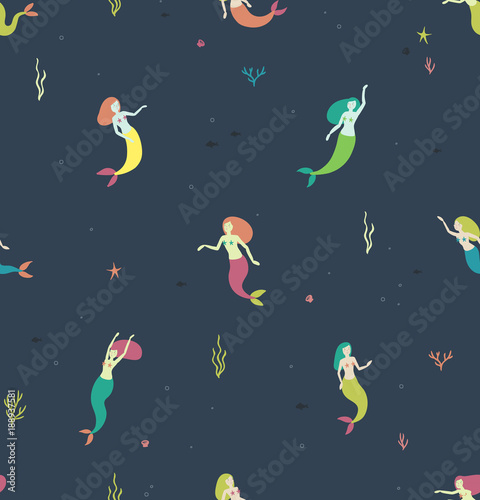 705f3e45e96acb Cotton fabric Seamless pattern with mermaids on a dark blue background.  print pattern