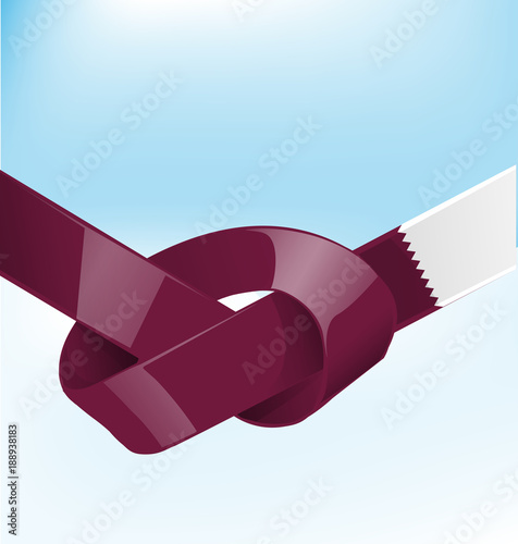 Fotografering  quatar ribbon flag on bue sky background