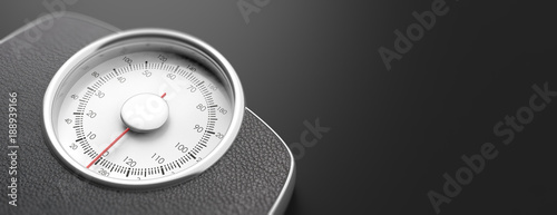 Foto Weighing scale isolated on black background. 3d illustration