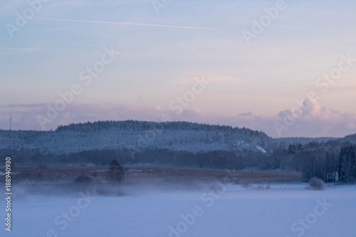 Photo Stands Lake Winter landscape