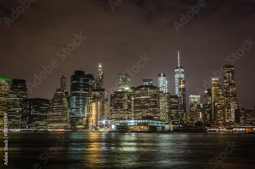 Fototapety, obrazy: Manhattan skyline by night