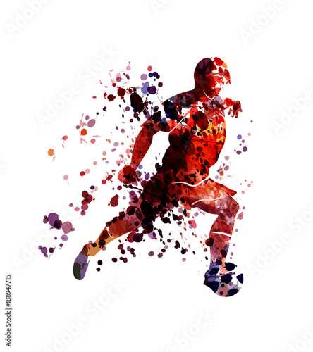 Vector watercolor silhouette soccer player © onot