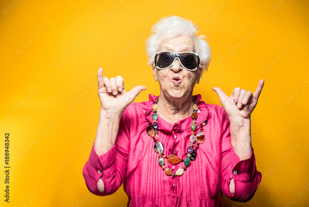 Fototapety, obrazy: Grandmother portrait set in the studio. Concepts about seniority
