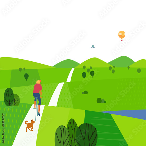 Green valley landscape. Comic outdoor cartoon. Minimalism simple style. Summer season active vacation in countryside. Young boy riding bicycle, dog running. Vector nature scene background illustration