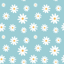 Chamomile On A Light Blue Color Pastel Background Pattern Seamless Vector