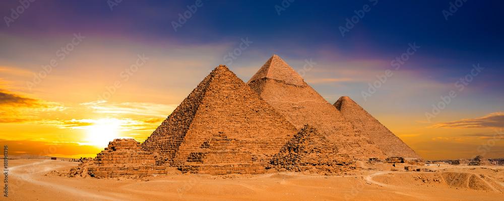 Fototapeta Great Pyramids of Giza, Egypt, at sunset