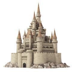 Stari dvorac iz bajke na brdu izoliran na bijeloj boji.