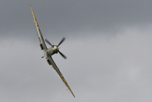 Old Warden Aerodrome, Biggleswade, Bedfordshire, UK AUGUST 19 2017 - An Ex-RAF Spitfire Performs A High Energy Display Over The Airfield