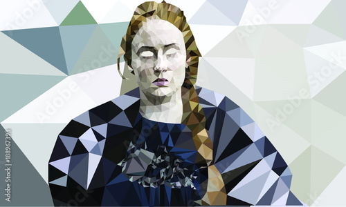 Photo Sansa Stark in low polly vector