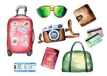 Tourist Set With Suitcase, Bag...