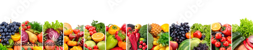 Poster Fruit Fruits and vegetables useful for health isolated on white