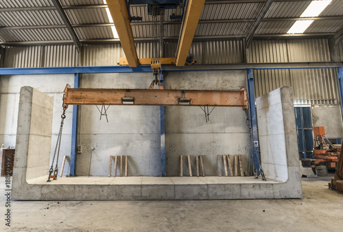 Concrete structures factory in wide angle image.