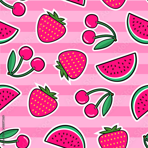 Cotton fabric Summer colorful bright seamless pattern with patches of red strawberry, cherry, watermelon on pink background. Fashion patches and stickers. Vector illustration.